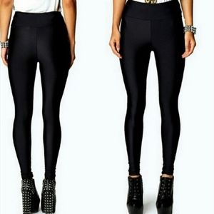 High waisted black opaque leggings